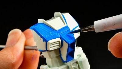 水性塗料でプラモが塗りたい!「アクリジョンベース ベースブルー」を筆塗りだ!!